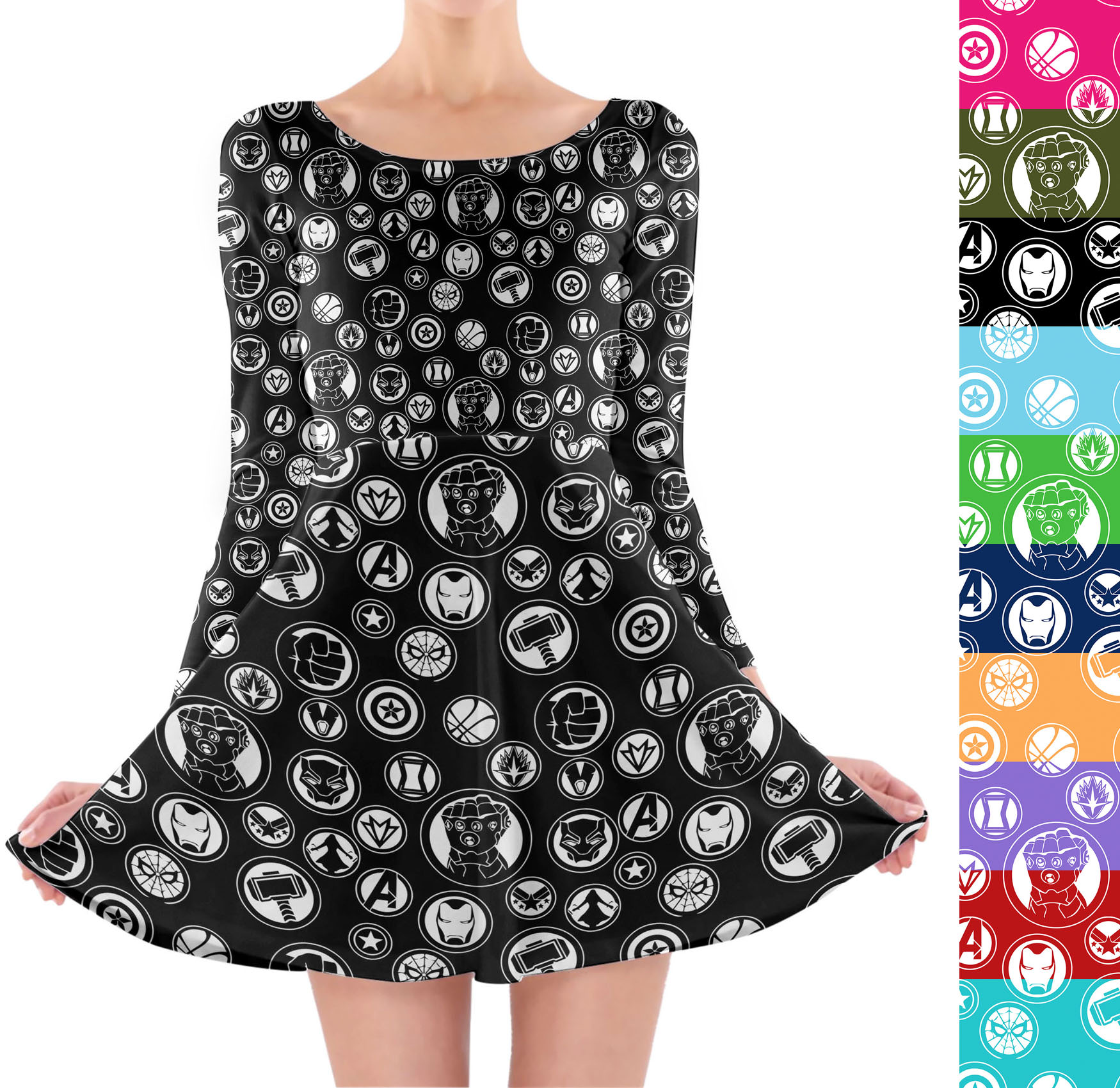 Details about Avengers Infinity War Superhero Inspired Longsleeve Skater  Dress XS-3XL All-Over 0eb6af8bc77